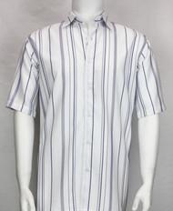 Bassiri White and Purple Multi Line Design Short Sleeve Camp Shirt
