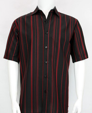 Bassiri Black and Red Multi Line Design Short Sleeve Camp Shirt