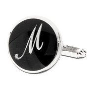 Personalized Initial Cufflinks Letter M (V-CF-1684BS-M)
