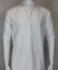 Bassiri Solid White Tone with Vertical Weave Short Sleeve Camp Shirt