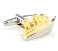 Gold & Silver Tug Boat Cufflinks (V-CF-M70338-GS)
