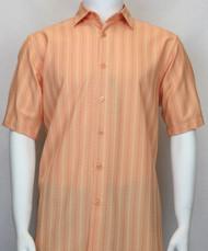Bassiri Melon Multi-Stripe Short Sleeve Camp Shirt