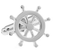 Silver Helm Boat Steering Wheel Cufflinks (V-CF-M6309-S)