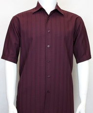 Bassiri Plum Multi-Stripe Short Sleeve Camp Shirt