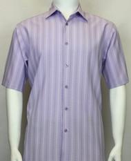 Bassiri Lavender Multi-Stripe Short Sleeve Camp Shirt