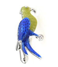 Enameled Blue & Green Parrot Cufflinks (V-CF-E4890)
