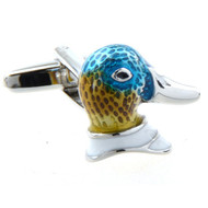 Enameled Mallard Duck Head Cufflinks (V-CF52923)
