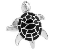 Enameled Black Turtle Cufflinks (V-CF-E448B-S)