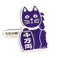 Maneki-neko Good Fortune Cat Purple Cufflinks (V-CF-70962PR)