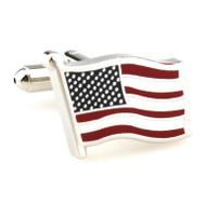 American Flag Silver Settting Cufflinks (V-CF-M70275-S)