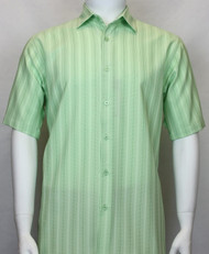 Bassiri Green Multi-Stripe Short Sleeve Camp Shirt