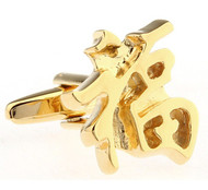 Golden Lucky or Fortune Chinese Character Cufflinks (V-CF-68209G)
