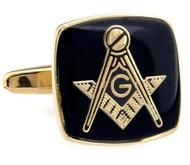 Masonic Black Face with Gold Settting Cufflinks (V-CF-50496G)