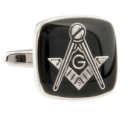 Masonic Black Face with Silver Settting Cufflinks (V-CF-50496S)