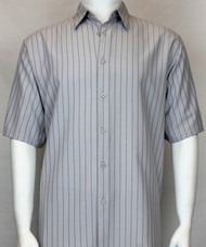 Bassiri Grey Vertical Stripe Short Sleeve Camp Shirt