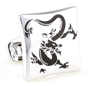 Asian Black Dragon Design Silver Cufflinks (V-CF-E81295B-S)