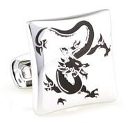 Asian Black Dragon Design Silver Cufflinks (V-CF-E81295B-S)