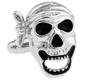 Black and Silver Pirate Skull Cufflinks (V-CF-M421-S)