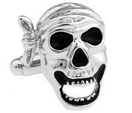 Black and Silver Pirate Skull Cufflinks (V-CF-M421-S)