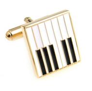 Music Keyboard Enamel Gold Cufflinks (V-CF-M6678-G)