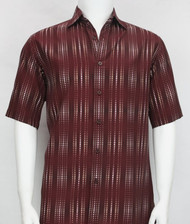 Bassiri Burgundy Optical Design Short Sleeve Camp Shirt