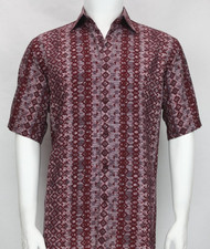 Bassiri Burgundy Arrow Abstract Design Short Sleeve Camp Shirt