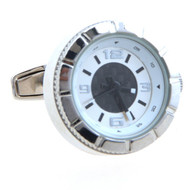 Silver Chronograph-Style Working Watch Cufflinks (V-CF-W53128)