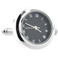 Silver with Black Face Working Watch Cufflinks (V-CF-W552860)