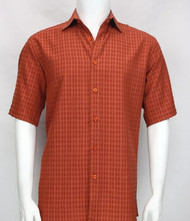 Bassiri Dark Orange Waffle Design Short Sleeve Camp Shirt