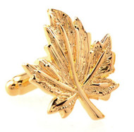 Gold Maple Leaf Cufflinks (V-CF-M52719-G)