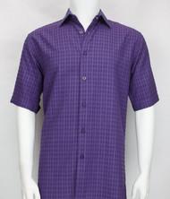 Bassiri Purple Waffle Design Short Sleeve Camp Shirt