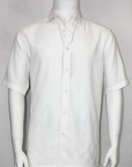 Bassiri Crepe Stripe Short Sleeve Camp Shirt - White