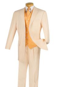 Pallini 3 Button with Vest 100% Cotton Seersucker Suit - Peach