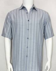Bassiri Crepe Stripe Short Sleeve Camp Shirt - Light Blue