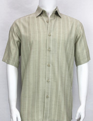 Bassiri Crepe Stripe Short Sleeve Camp Shirt - Sage
