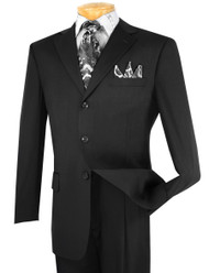 Vinci 3-Button with Pleated Slacks Classic Suit - Black