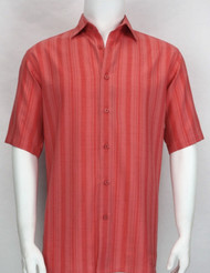 Bassiri Crepe Stripe Short Sleeve Camp Shirt - Cherry