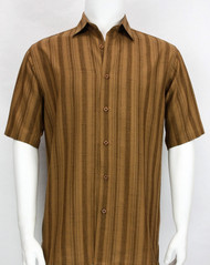 Bassiri Crepe Stripe Short Sleeve Camp Shirt - Copper