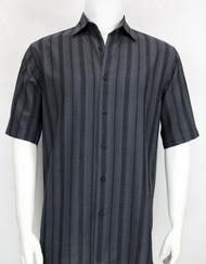 Bassiri Crepe Stripe Short Sleeve Camp Shirt - Charcoal
