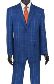 Vinci 2-Button Bold Blue Colored Windowpane Suit