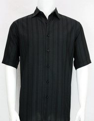 Bassiri Crepe Stripe Short Sleeve Camp Shirt - Black
