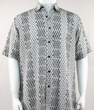 Bassiri Abstract Line & Stripe Design Short Sleeve Camp Shirt -White and Black Tones