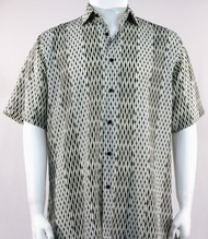 Bassiri Abstract Line & Stripe Design Short Sleeve Camp Shirt - Cream and Black Tones
