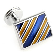 Gold and Blue Enamel Stripe Cufflinks (V-CF-E10019)