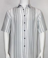 Bassiri Multi Black and White Stripe Design Short Sleeve Camp Shirt