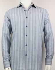 Bassiri Light Blue Crepe Stripe Long Sleeve Camp Shirt