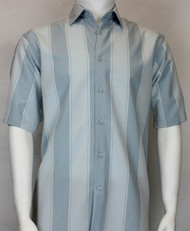 Bassiri Large Blue Stripe Short Sleeve Camp Shirt