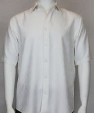 Bassiri Solid White Tone with Line Pattern Short Sleeve Camp Shirt