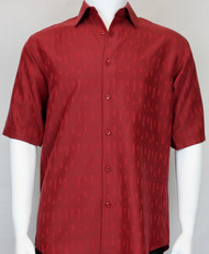 Copy of Bassiri Solid  Red Tone with Line Pattern Short Sleeve Camp Shirt