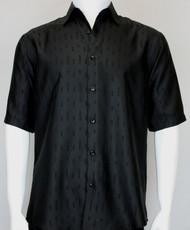Bassiri Solid Black Tone with Line Pattern Short Sleeve Camp Shirt